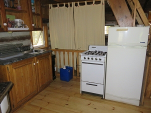 Propane fridge and stove.