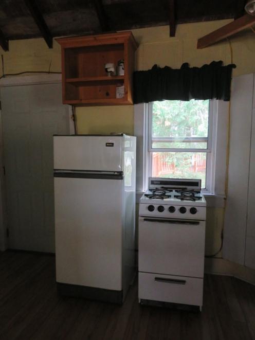 Propane fridge and stove.