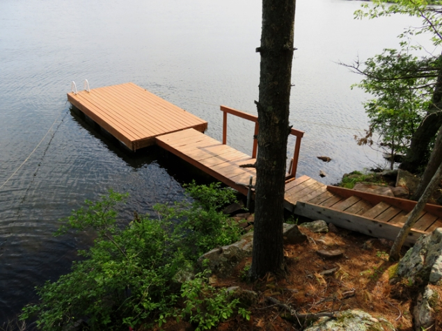 Long dock with lots of space to tie up your boat(s).
